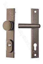 Bezpečnostní kování ROSTEX R1/90/D, klika/knoflík, antická zlatá, s překrytem