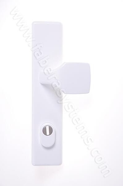 Bezpečnostní kování HOPPE LONDON bílá madlo/klika s překrytem, 92/8, 67-72mm