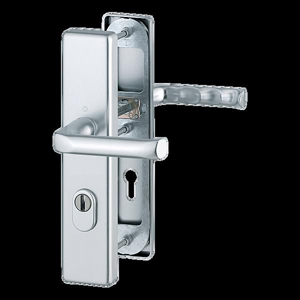 Bezpečnostní kování HOPPE LONDON F1 klika/klika s překrytem, 72/8, 67-72mm