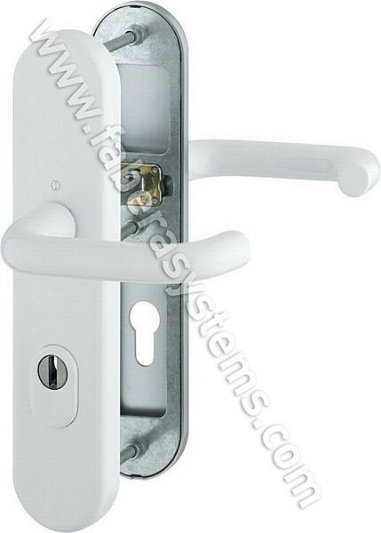 Bezpečnostní kování HOPPE PARIS bílá klika/klika s překrytem, 92/8, 67-72mm(obj.č.3765236)