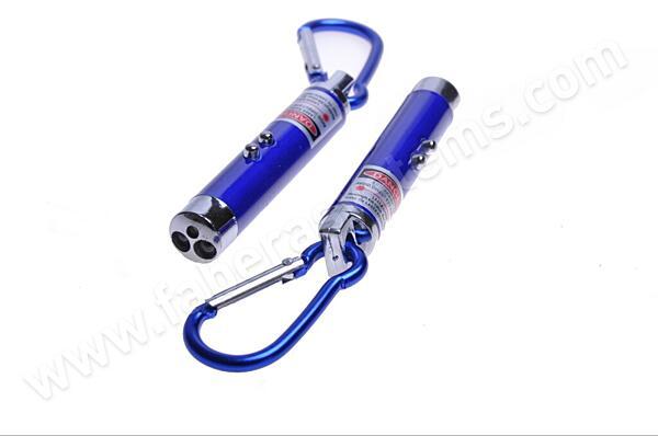 Přívěsek na klíče Svítilna 3v1 (2 diody + laser + karabina)