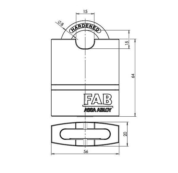Bezpečnostní visací zámek FAB 1011U4HNbCr, 3 klíče   3.BT