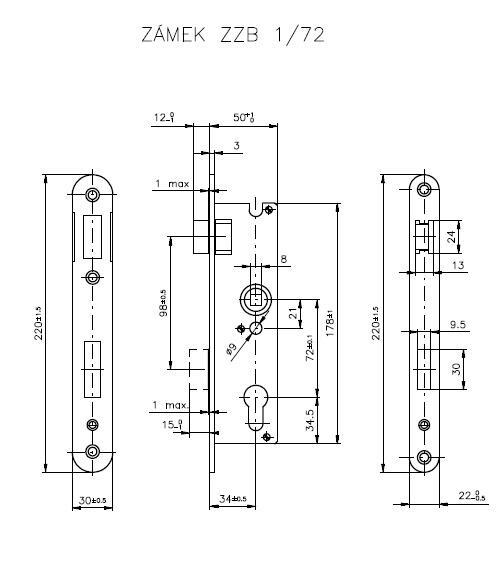 Zadlabací zámek ROSTEX ZZB1 72 Pravý